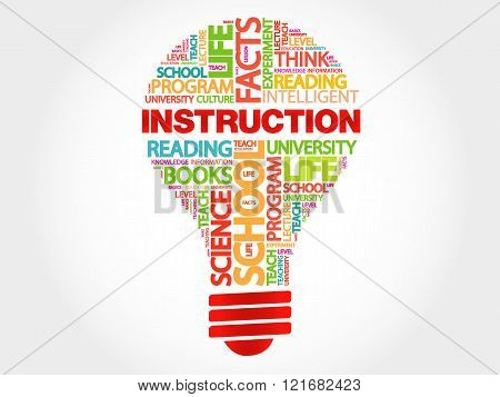 INSTRUCTION bulb word cloud business concept, presentation background