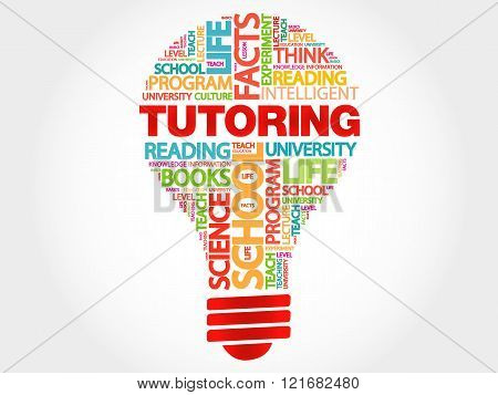 TUTORING bulb word cloud business concept, presentation background
