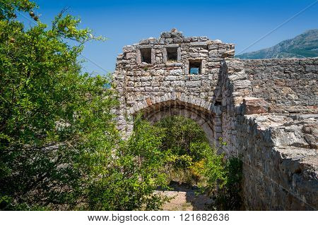 Ruined entrance to medieval fortress of Sutomore