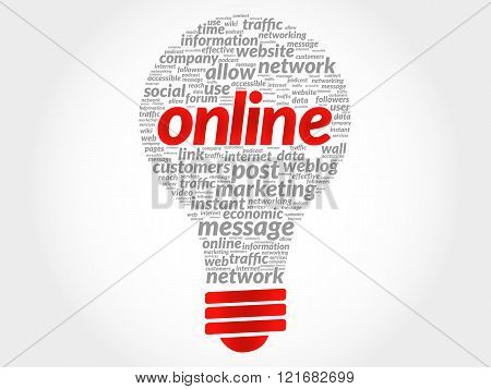 Online bulb word cloud business concept, presentation background