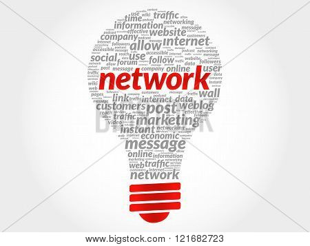 Network bulb word cloud business concept, presentation background
