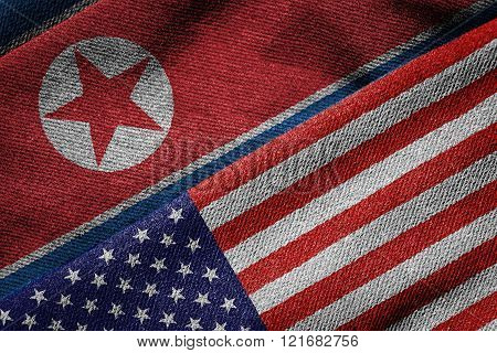 Flags Of Usa And North Korea On Grunge Texture