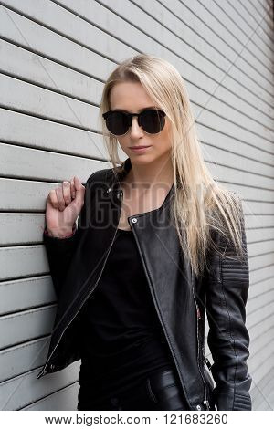 Blond Girl In Leather Outfit