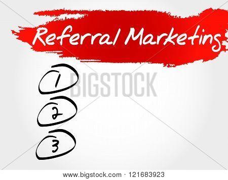 Referral Marketing blank list business concept, presentation background