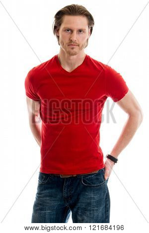 Man in jeans and red tee shirt. Studio shot over white.