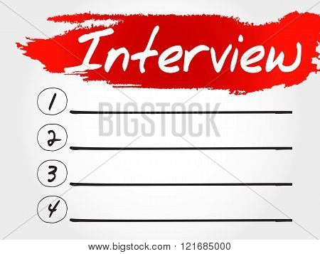 Interview blank list business concept, presentation background
