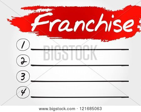 Franchise blank list, business concept, presentation background
