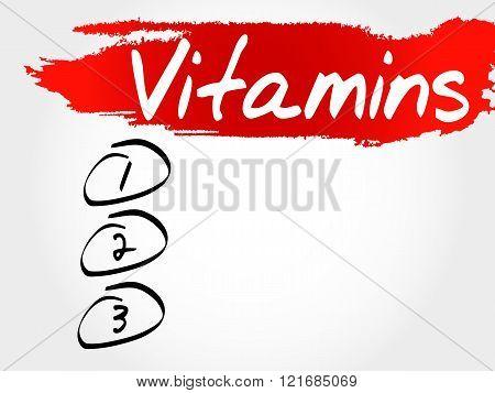 Vitamins blank list health concept, presentation background