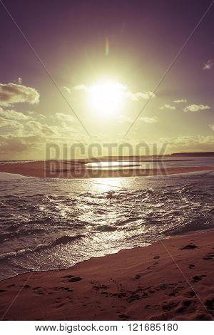 Vintage Sunny Sunset Beach Sea Shore Landscape