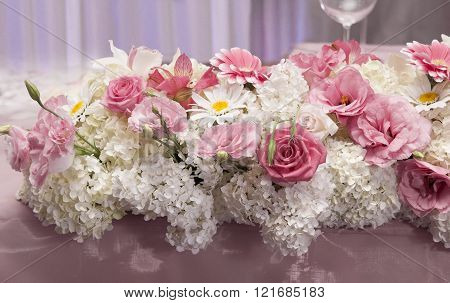 Catering Arrangement Of Wedding With Fresh Flowers