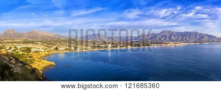 Sunrise Over Altea Bay, Costa Blanca. Spain, Alicante. Panoramic View