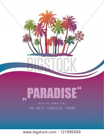 Background with Tropical Paradise.  Travel Banner with Palms.