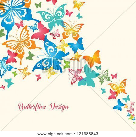 Colorful Butterflies. Original Design for Greeting Cards, Fashion, Backgrounds.