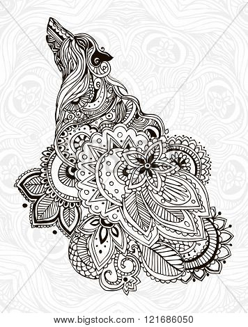 Hand drawn greeting card ornament illustration concept. Lace pattern design. Stylization Wolf, Vector decorative banner of card or invitation design Vintage traditional, Islam, indian, ottoman motifs