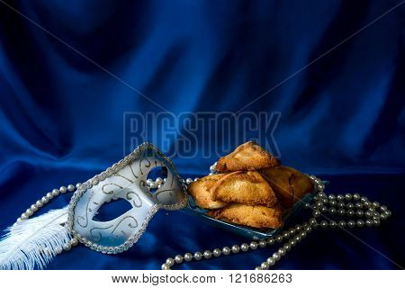 Jewish Holiday Of Purim, Carnival Mask And Hamantaschen