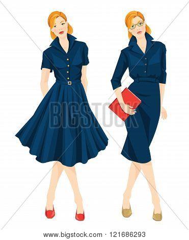 Woman in formal blue dress and redhead woman in elegant blue dress.