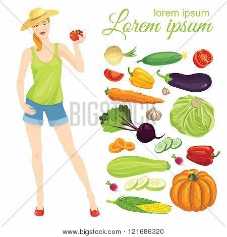 Farmer girl holding tomato. Set of vegetables.