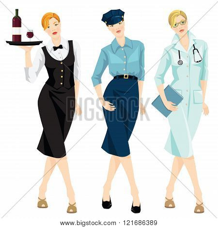 Illustration of policewoman, waitress, doctor.