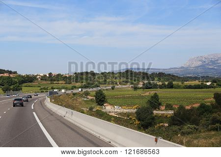 Provence, France - May 23: This is main highway crossing the valleys near Ex-An-Provence May 23, 2015 Provence, France.