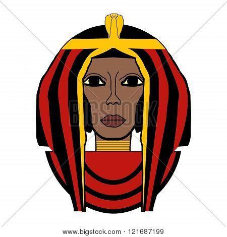 beautiful girl stylized into Cleopatra her name written in Egyptian hieroglyphics and pharaoh symbols