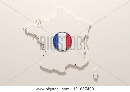 Silhouette Of France With French Flag On Button