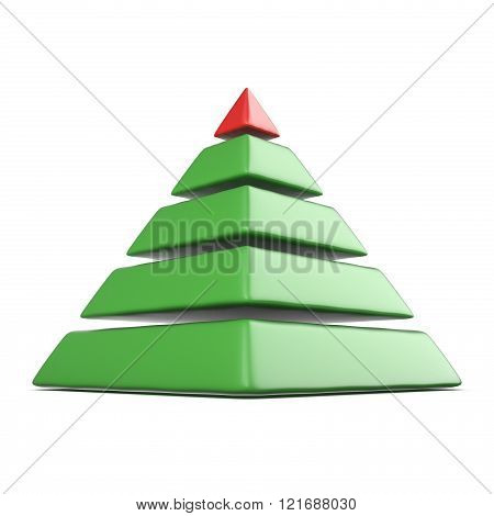 Pyramid with five levels.Top red pyramid. 3D render illustration isolated on white background