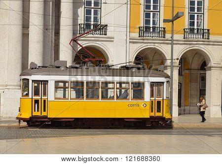Vintage Tram on the Praca do Comercio Lisbon Portugal.