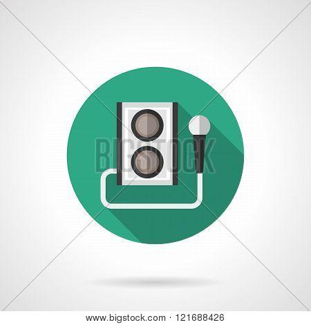 Karaoke round flat color vector icon