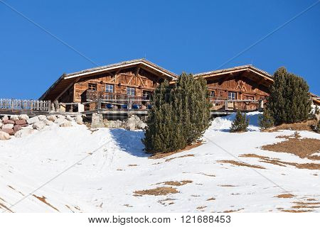 Restaurant in winter Dolomite Alps, Tyrol, Italy