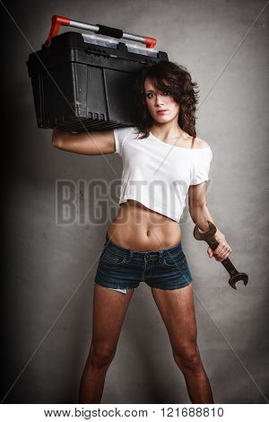 Sexy Girl Worker Holding Toolbox And Wrench