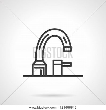 Bathroom faucet black line design vector icon
