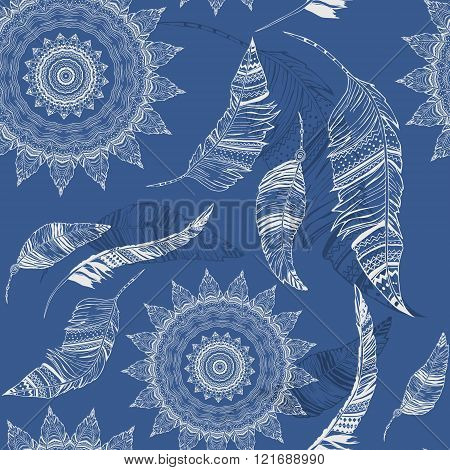 Feather vector, seamless pattern with hand-drawn feathers, feathers seamless background, tibetan mandala,  lotus, kaleidoscope,   india,  pattern