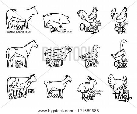 Farm Animals Icons Collection, Butchery Logo Templates