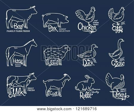 Farm Animals Icons Collection, Butchery Logo Templates
