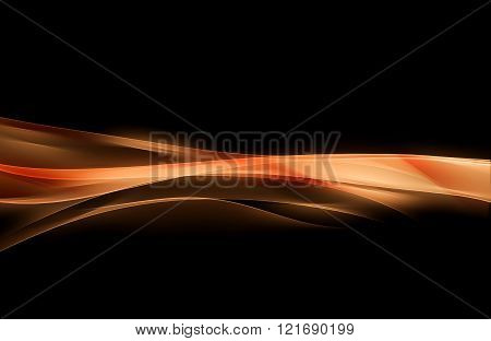 Orange waves art. Blurred effect background. Abstract creative graphic design.