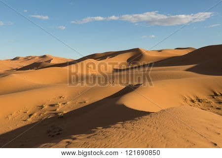 sunset on the sand dunes of Merzouga, Morocco