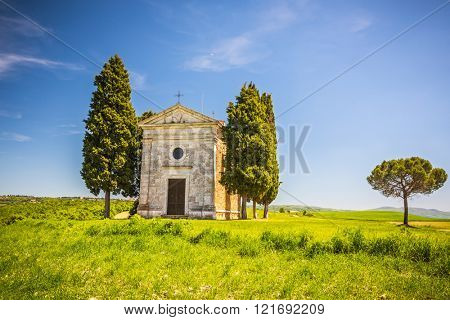 Beautiful landscape with chapel in Tuscany, Italy
