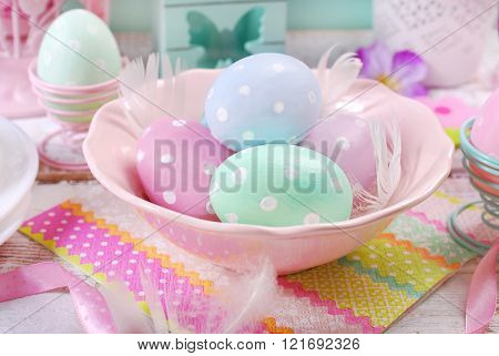 Pastel Colors Easter Eggs In Bowl