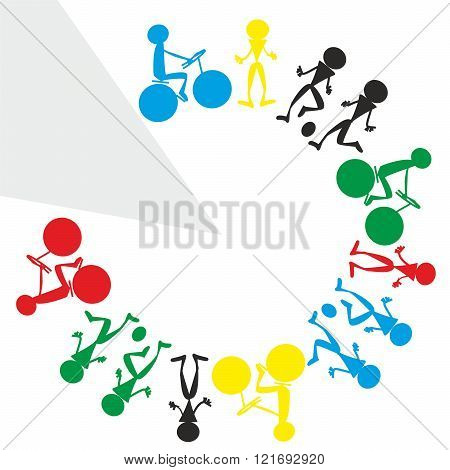 Illustration Of Colorful Sporty Schematic People