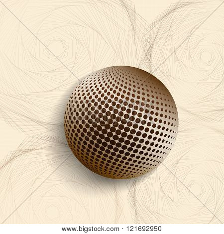 3d illustration with golden sphere and the stylized roses