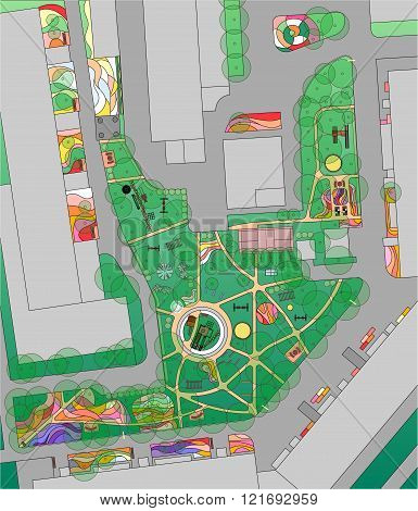 Plan of urban yard with trees flowerbed and playgrounds.