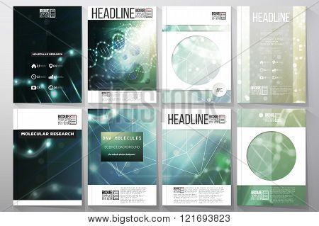 Set of business templates for brochure, flyer or booklet. DNA molecule structure on a green backgrou