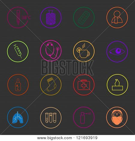Medic colorful icons set on dark background. Treatment of cold and flu
