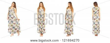 Beautiful model in summer dress on white isolated background in different poses