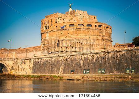 Saint Angel Castle on Tiber river in Rome