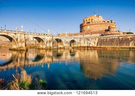 Saint Angel Castle and bridge over the Tiber river in Rome