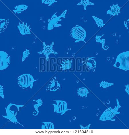 Sea life and fishes seamless vector background
