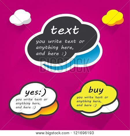 Cloud bubbles, colorful cartoon design for any text