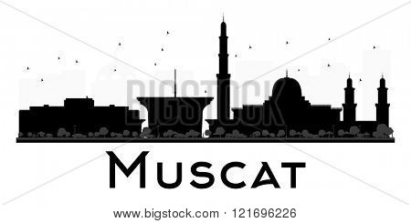 Muscat City skyline black and white silhouette. Simple flat concept for tourism presentation, banner, placard or web site. Business travel concept. Cityscape with landmarks