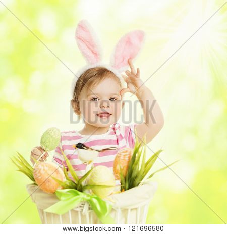 Child Girl In Bunny Ears, Basket With Eggs, Little Kid Rabbit Ear